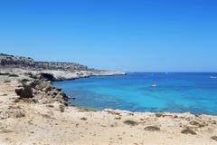 Kavo Greko udde i Cypern Arkivbild