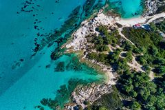 Kavourotrypes or Orange is a small paradise of small beaches located between Armenistis and Platanitsi in Sithonia, Chalkidiki, royalty free stock photo