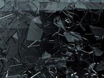 Kawałki łamający lub pękający na czerni szkło ilustracja wektor