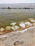 Kawały zdruzgotany lód blisko morza po zimy szaleją zdjęcie royalty free