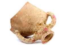Kawałek łamany antyczny kubek z skamielinami Obraz Royalty Free