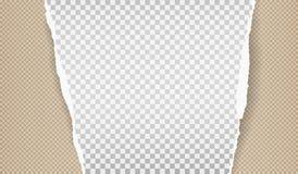 Kawałek biały drzejący papierowy pasek z ciosowym wzorem i miękkim cieniem jest na brązu tle r?wnie? zwr?ci? corel ilustracji wek ilustracji