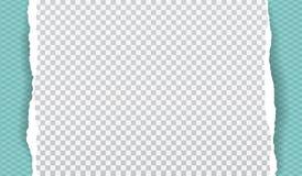 Kawałek biały drzejący papierowy pasek z ciosowym wzorem i miękkim cieniem jest na turkusowym diamentowym kształta tle wektor ilustracji