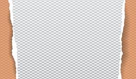 Kawałek biały drzejący papierowy pasek z prostokąta wzorem i miękkim cieniem jest na pomarańczowym diamentowym kształta tle wekto ilustracji