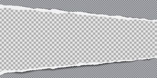 Kawałek biel obciosujący drzejący papierowy pasek z miękkim cieniem jest na popielatym ciosowym tle r?wnie? zwr?ci? corel ilustra royalty ilustracja