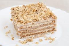 Kawałek ciastko tort na talerzu fotografia stock