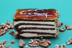 Kawałek czarny i biały płatowaty tort na turkusowym tle Fotografia Stock