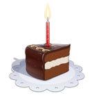Kawałek czekoladowy tort z świeczką Obrazy Stock