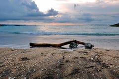 Kawa?ek drewno na piasku Kuta Bali pla?a przy p??mrokiem zdjęcie royalty free
