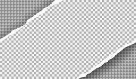 Kawałek drzejący ciosowy papierowy pasek z miękkim cieniem jest na popielatym ciosowym tle r?wnie? zwr?ci? corel ilustracji wekto ilustracji