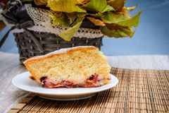 Kawałek gąbka torta chleb na słomianej pościeli na tle zdjęcia stock