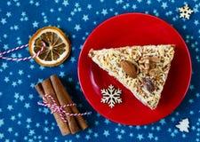 Kawałek handmade morelowy kulebiak na czerwień talerza cynamonie na błękitnym placemat zdjęcie stock