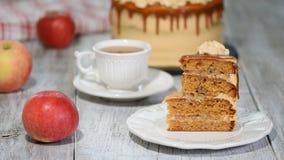 Kawałek karmel Batożący Kremowy warstwa tort zbiory wideo