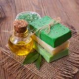 Kawałek naturalny mydło z olejem i ziele Obrazy Royalty Free