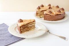 Kawałek płatowaty tort (Dobosh węgra tort) obraz stock