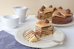 Kawałek płatowaty tort (Dobosh węgra tort) zdjęcie royalty free