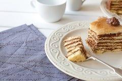 Kawałek płatowaty tort (Dobosh węgra tort) Zdjęcie Stock