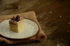 Kawałek torta napoleon na talerzu z czekoladowego cukierku, custard i koksu układami scalonymi, zdjęcie stock