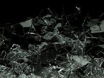 Kawałki łamający lub pękający na czerni szkło royalty ilustracja
