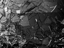 Kawałki łamający lub pękający na czerni szkło ilustracji