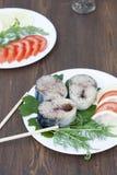 Kawałki świeża makrela w pikantność z warzywami Obraz Stock