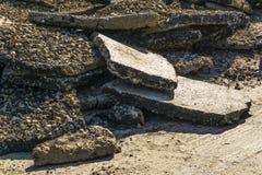 Kawałki asfalt podczas drogowych prac obrazy stock