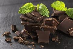 Kawałki ciemna czekolada i mennica obrazy royalty free