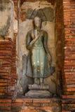 kawałki kamienie antykwarski Buddha, antykwarski ściana z cegieł i pagod Obrazy Stock