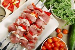 Kawałki mięso na skewers Zdjęcia Royalty Free
