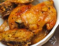 Kawałki pieczony kurczak. odżywki jedzenie fotografia stock