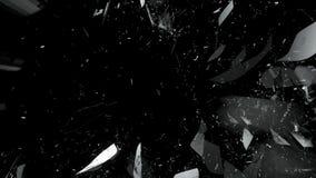 Kawałki splitted lub łamający szkło na czerni zdjęcie royalty free