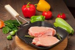 Kawałki surowy mięso Fotografia Royalty Free