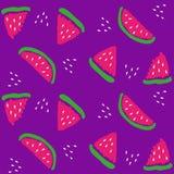 Kawały arbuz na purpurowym tle ilustracja wektor