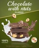 Kawały czekolada z hazelnuts Pluśnięcie czekolada i mleko wokoło kawałków czekolada royalty ilustracja