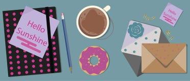 Kawa, agenda i Donuts na stole, Odgórny widok ilustracja wektor