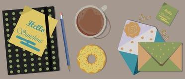 Kawa, agenda i Donuts na stole, Odgórny widok royalty ilustracja