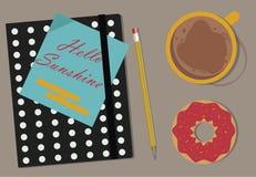 Kawa, agenda i Donuts na stole, Odgórny widok ilustracji