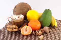 Kawa, deser i owoc, Obrazy Royalty Free