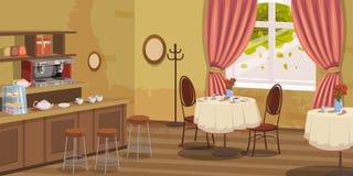 Kawa dom, wnętrze, stojak, krzesła, kawowa maszyna, stoły, wektor, ilustracja, kreskówka styl, odizolowywający royalty ilustracja