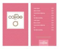 Kawa Domowy menu z oryginalnym nowo?ytnym literowaniem i stylizowanymi fili?ankami Menchie, retro kropkowany tło fotografia stock