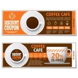 Kawa dyskontowy talon lub prezenta alegat rabatowy bobek opuszczać dębowego faborków szablonu wektor ilustracja wektor