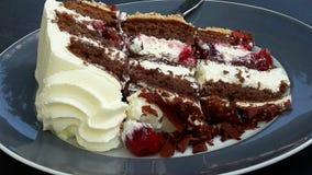 Kawałek tort w spodeczku w szarym spodeczku Fotografia Royalty Free