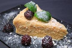 Kawałek tort z czernicami Obraz Royalty Free