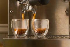 kawa espresso dwoisty strzał zdjęcia stock