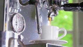 Kawa espresso z klasycznej kawowej maszyny w filiżankę zbiory wideo