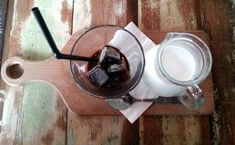 Kawa espresso z mleka i kawy lodem Fotografia Stock