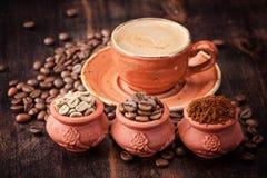 Kawa Filiżanka kawa espresso Różni typ kawa Zdjęcia Stock