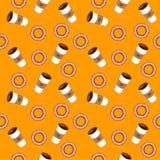Kawa i bagels Płaska ilustracja Zdjęcia Stock