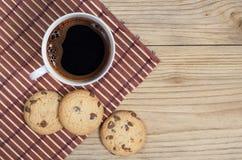 Kawa i ciastka z czekoladą Obraz Stock