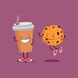 Kawa i ciastko obcy kreskówka komunikuje dyrektor śmieszną ilustracyjną językową filmu znaka przestrzeń ilustracji